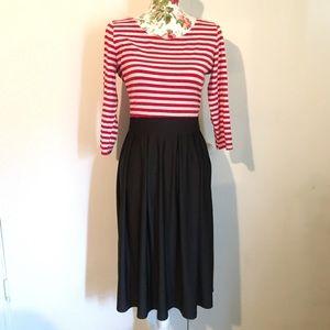 Red Black White Striped Stretchy Midi Maxi Dress